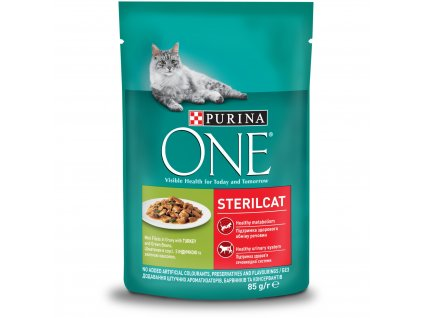 Purina ONE STERILCAT mini filetky s krůtou a zel. fazolkami ve šťávě 85g