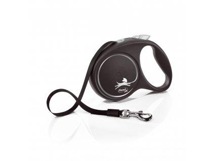 Flexi Black Design L páska 5m/50 kg stříbrné