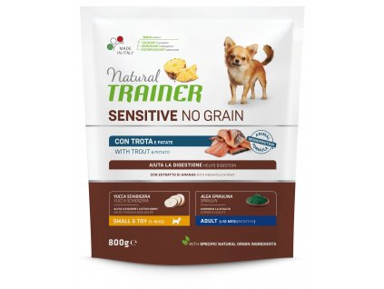 38160 trainer natural sensitive dog no grain mini pstruh 800g