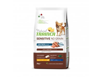 38334 trainer natural sensitive dog no grain mini pstruh 2kg