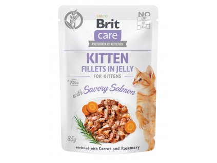 38451 brit care cat kitten fillets in jelly with savory salmon 85 g