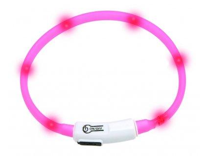 Karlie Visiolight svíticí LED obojek 35cm růžový