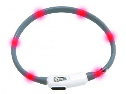 Karlie Visiolight svíticí LED obojek 35cm šedý