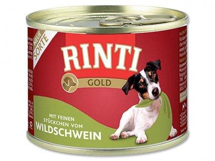 Finnern Rinti Gold konzerva pro psy divočák kousky 185g
