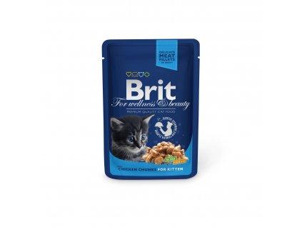 Kapsička Brit Cat Premium Pouches kuřecí kousky pro kotata 100g