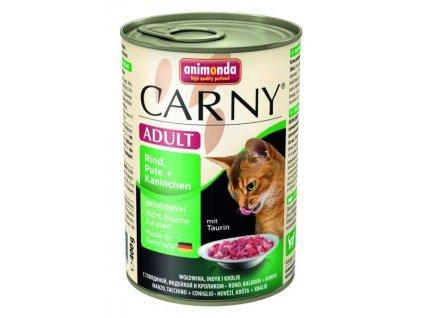 Animonda Carny konzerva pro kočky hovězí+krůta+králík 400g