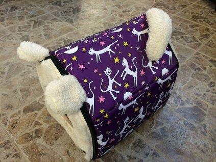 Bouda Huhubamboo Cats-Purple 35x35x30cm