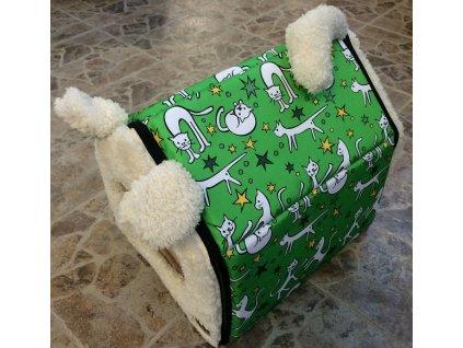 Bouda Huhubamboo Cats-Green 35x35x30cm