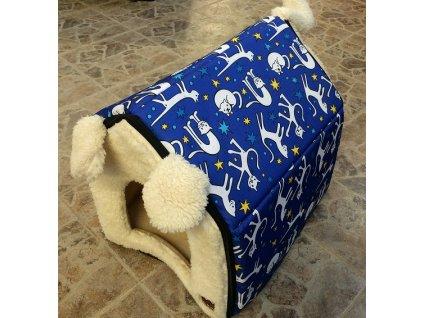 Bouda Huhubamboo Cats-Blue 35x35x30cm