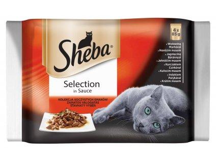 SHEBA kapsička SELECTION in Sauce Šťavnatý výběr 4pack 340g