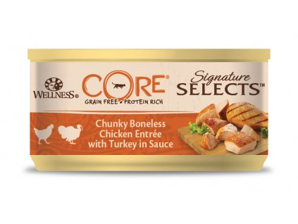Wellness CORE Signature Selects Chunky Boneless Chicken Entrée with Turkey in Sauce 79g