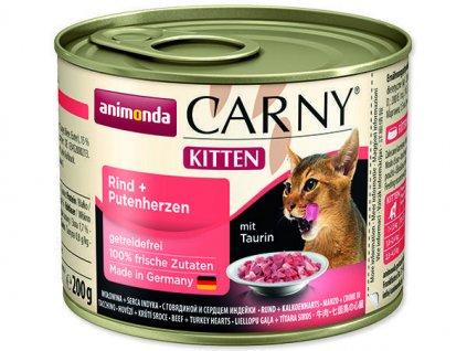 Animonda Carny Junior konzerva pro kočky hovězí+krůtí srdce 200g