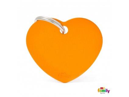 Známka Basic Alu - srdíčko velke oranzove