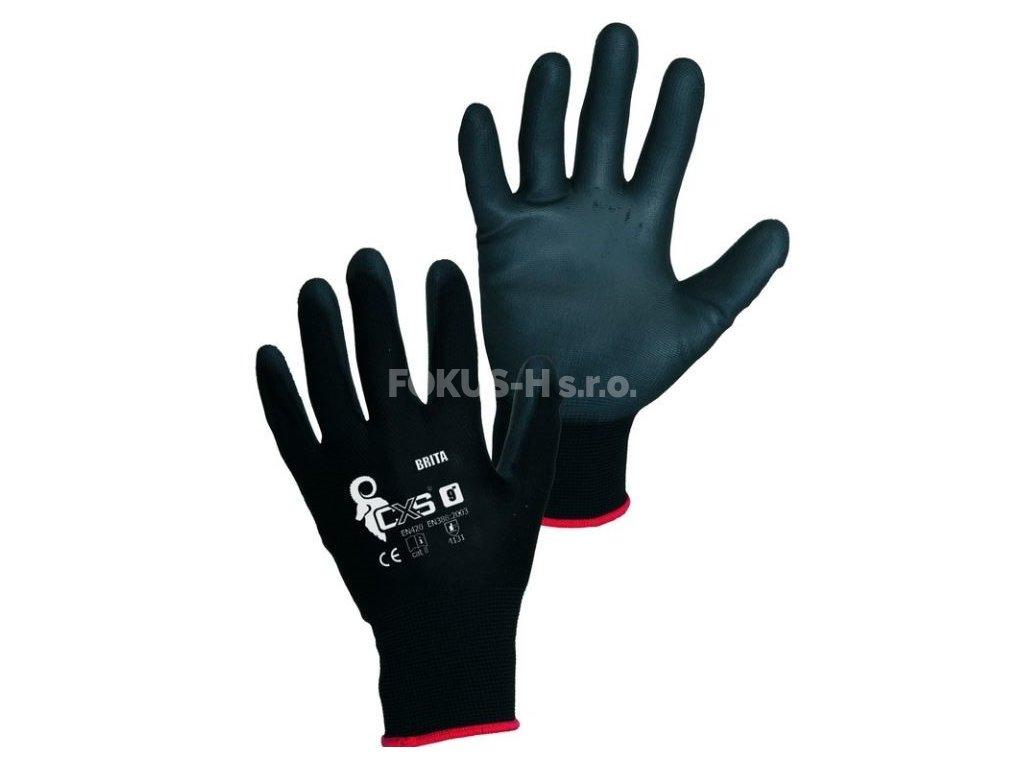 Rukavice BRITA BLACK, máčené prsty a dlaň