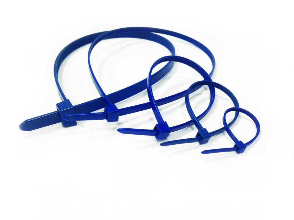 Vázací pásky modré detekovatelné, balení 100 ks