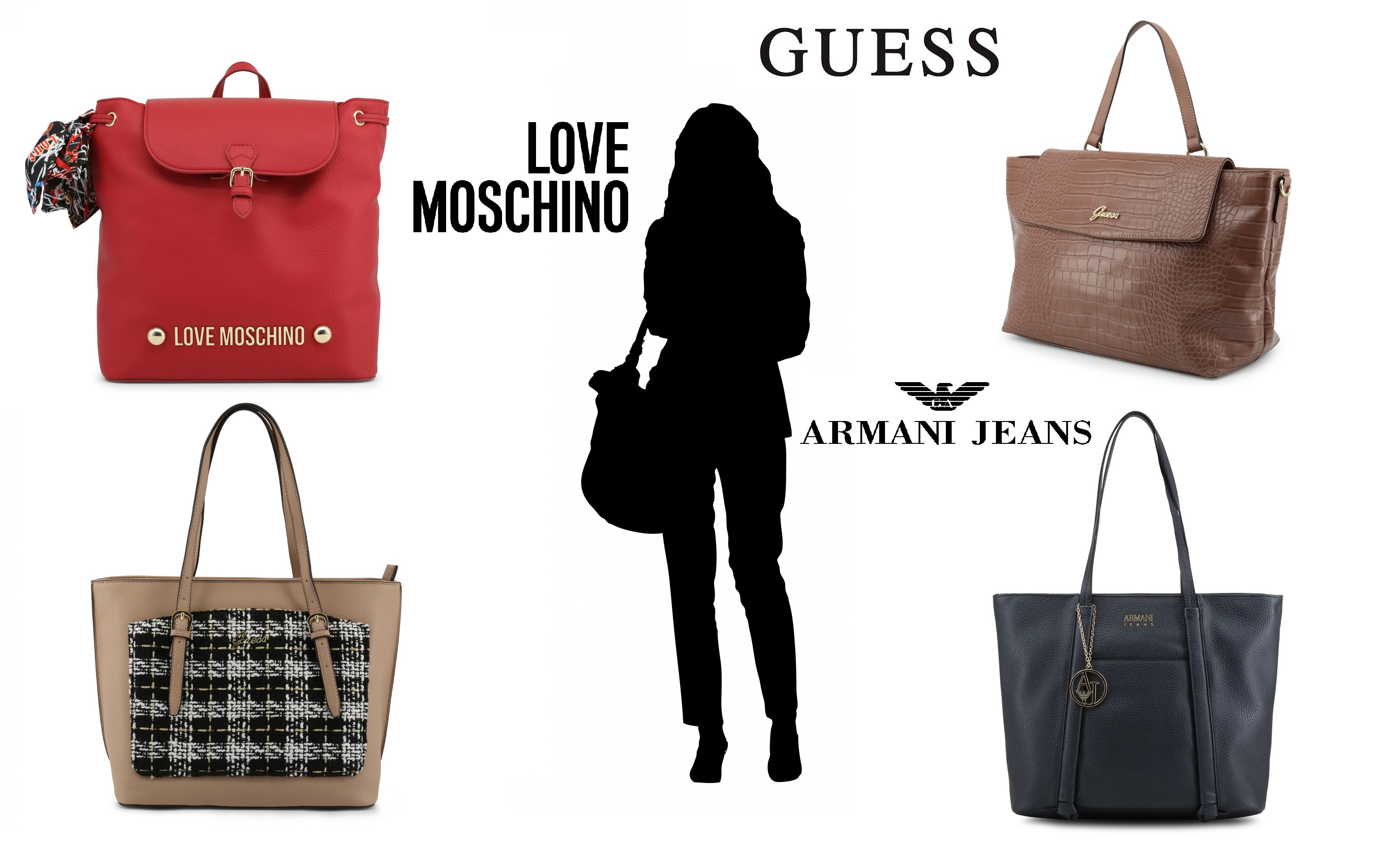 Kabelky Guess, Love Moschino, Armani Jeans