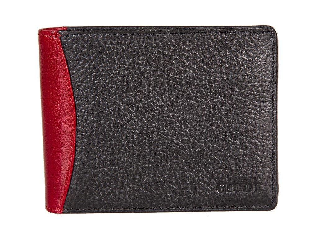 pánská černočervená kožená peněženka 6393, GIUDI