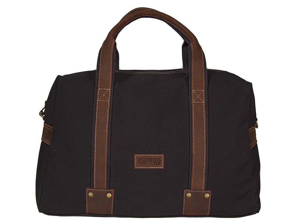 Černá taška z canvasu a pravé kůže SD 9008, FROG