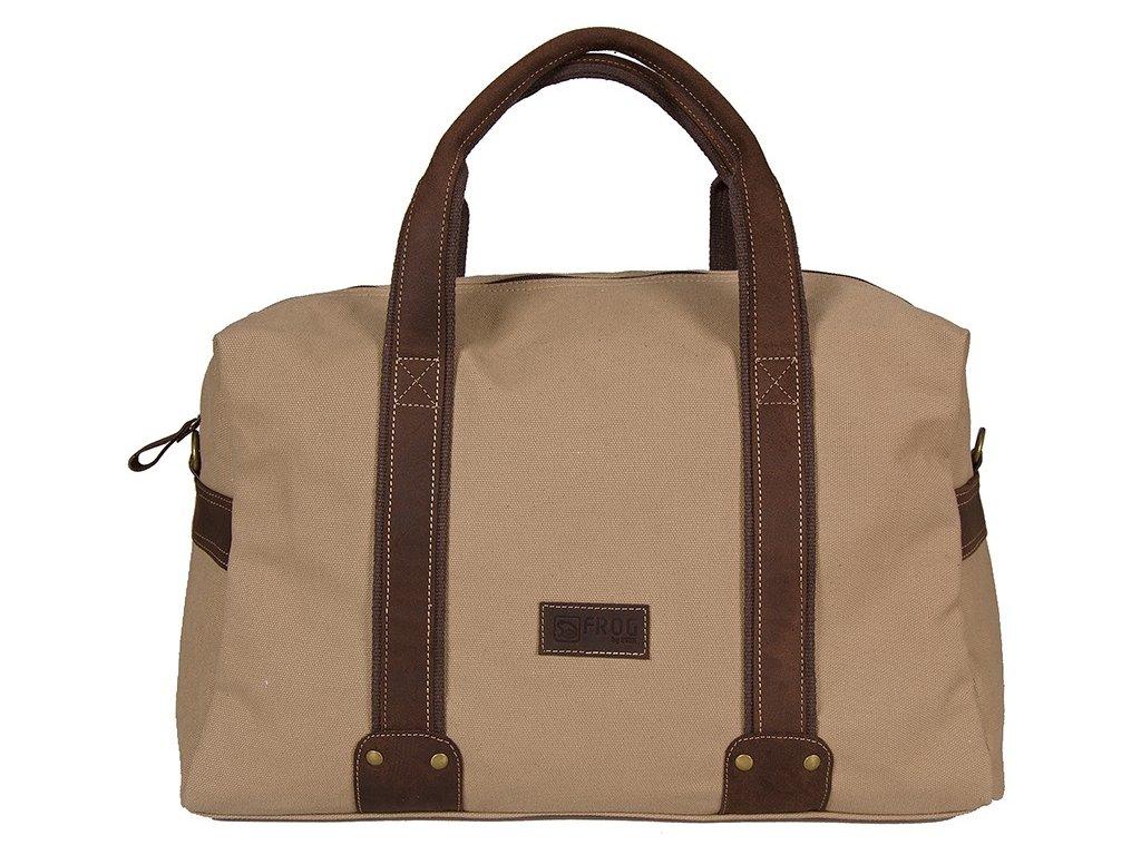 béžová taška z canvasu a pravé kůže SD 9008, FROG