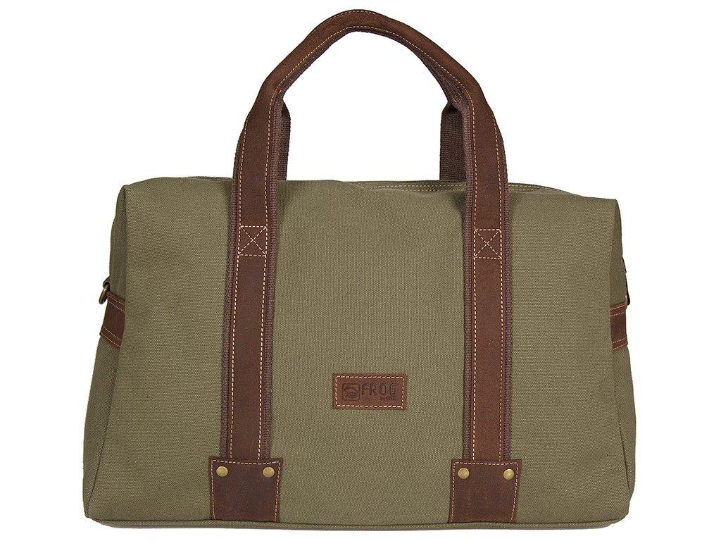 khaki taška z canvasu a pravé kůže SD 9008, FROG