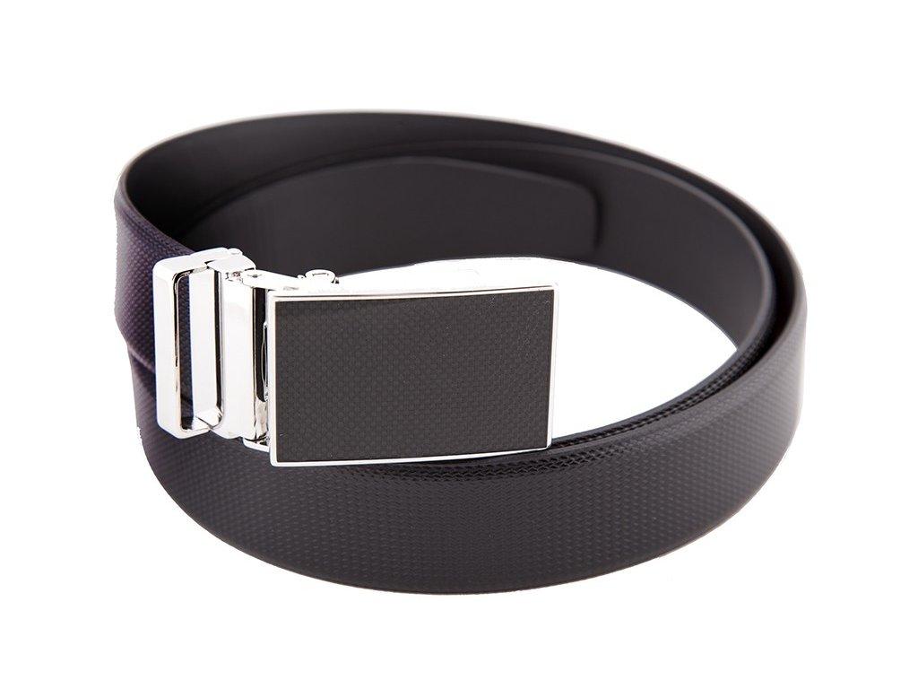 Pánský černý kožený luxusní pásek do obleku Lloyd s automatickou sponou
