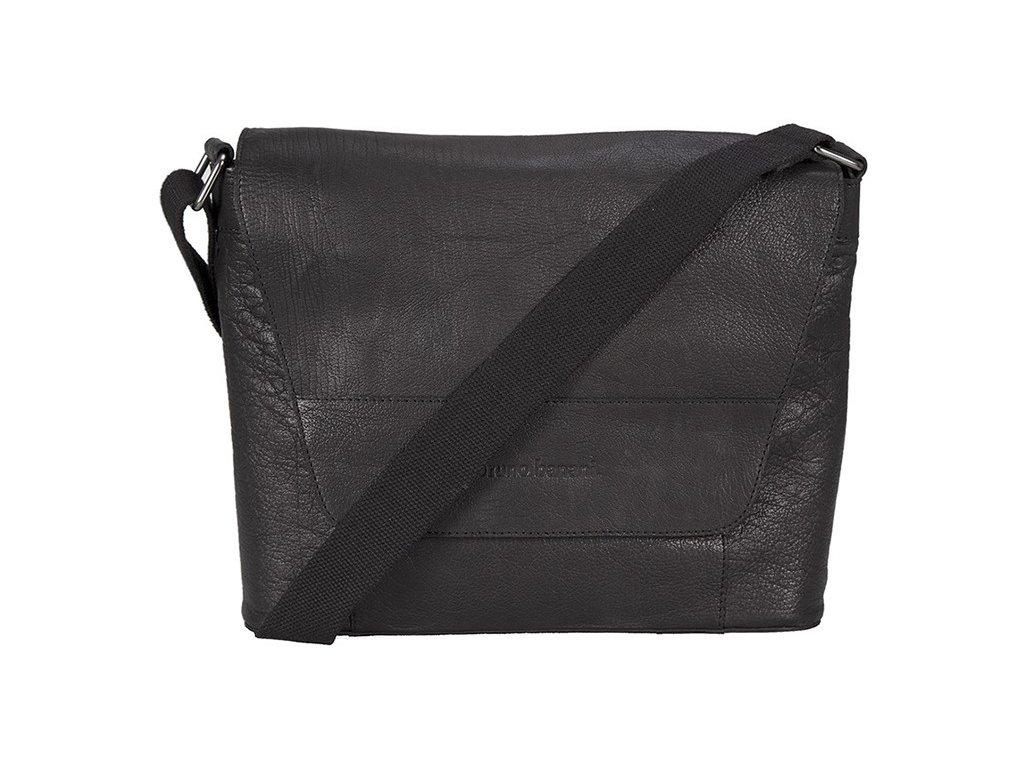 """Černá kožená taška na 13"""" notebook německé značky BRUNO BANANI"""