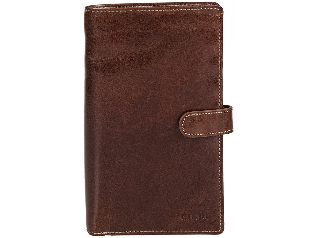 velká hnědá kožená peněženka - dokladovka 6872, GIUDI