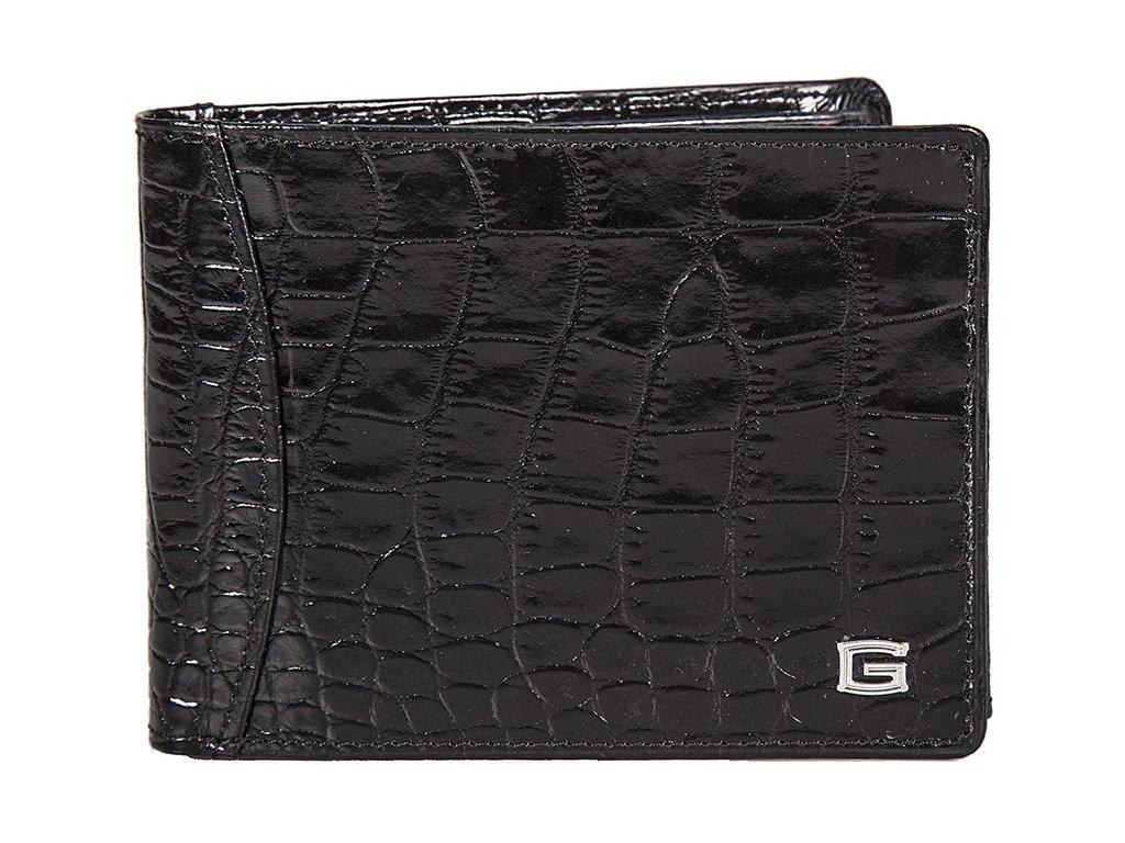 pánská černá kožená peněženka 6393/kroko, GIUDI