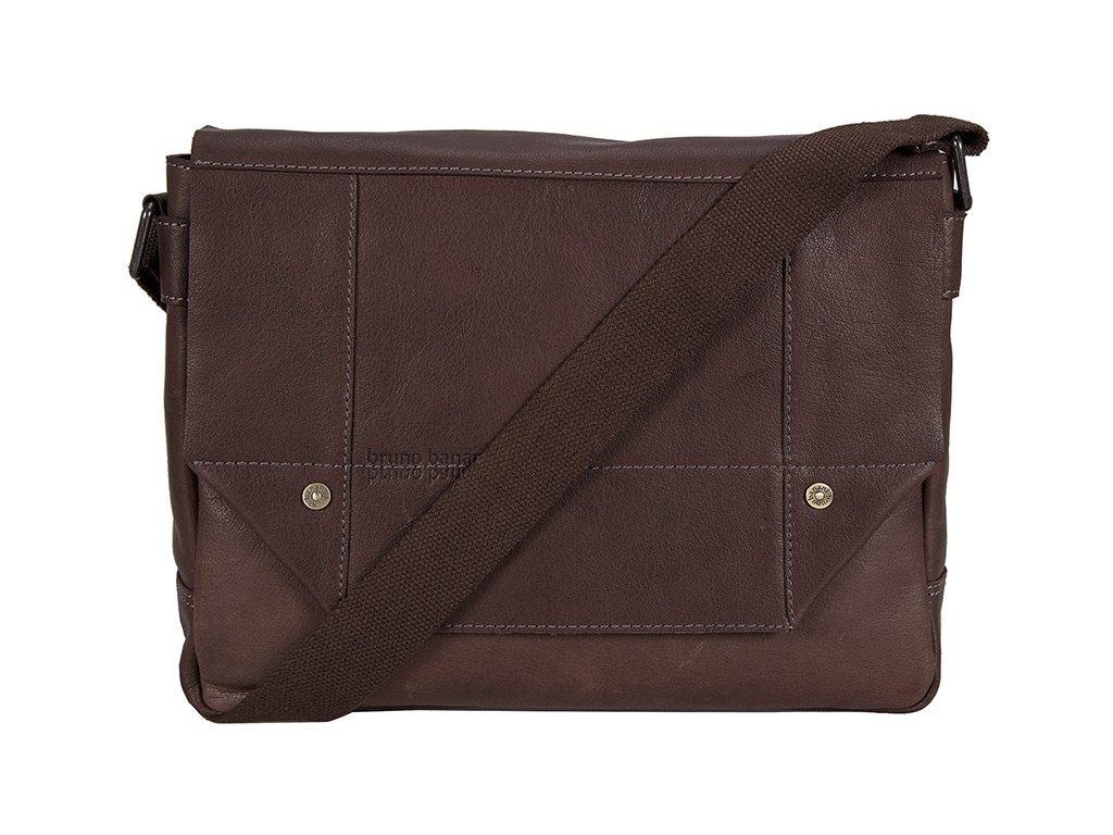 Elegantní značková hnědá kožená taška BRUNO BANANI