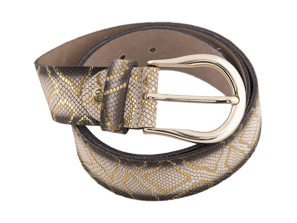 béžovo zlatý kožený pásek 402518, BERND GÖTZ