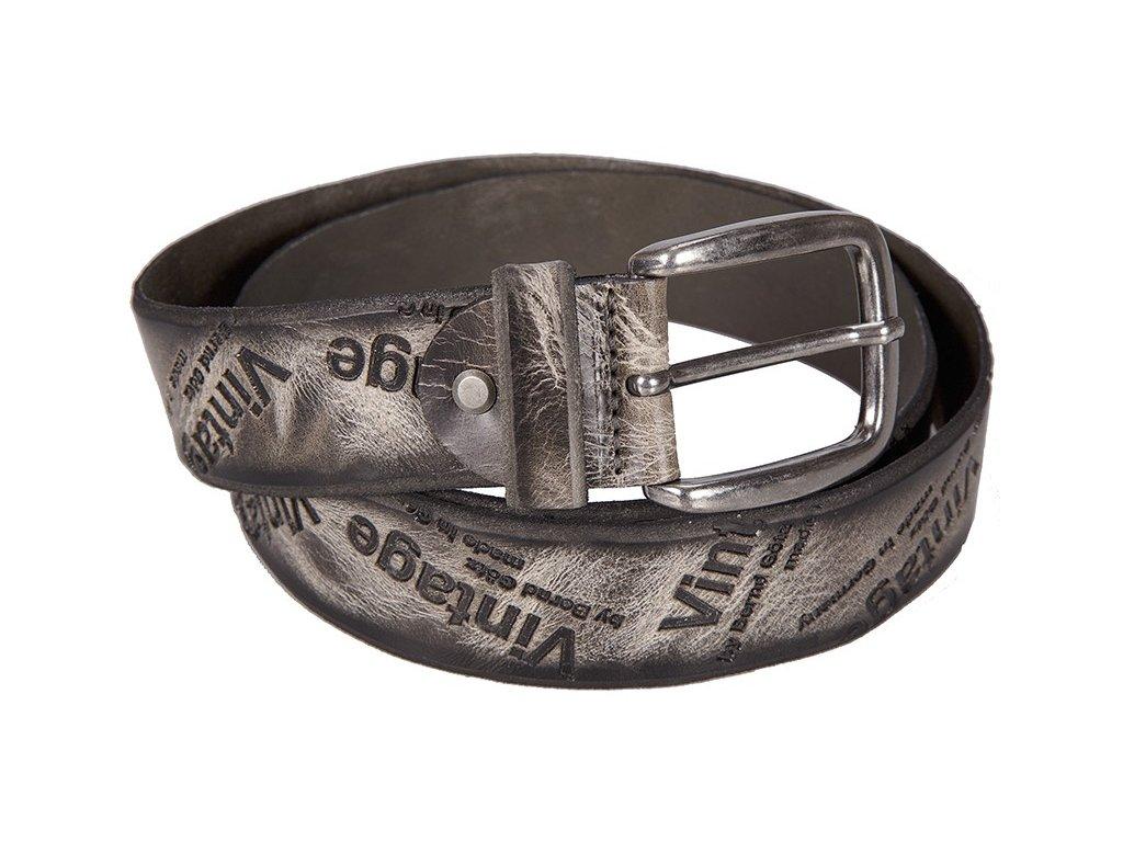 šedý kožený pásek 402498, BERND GÖTZ
