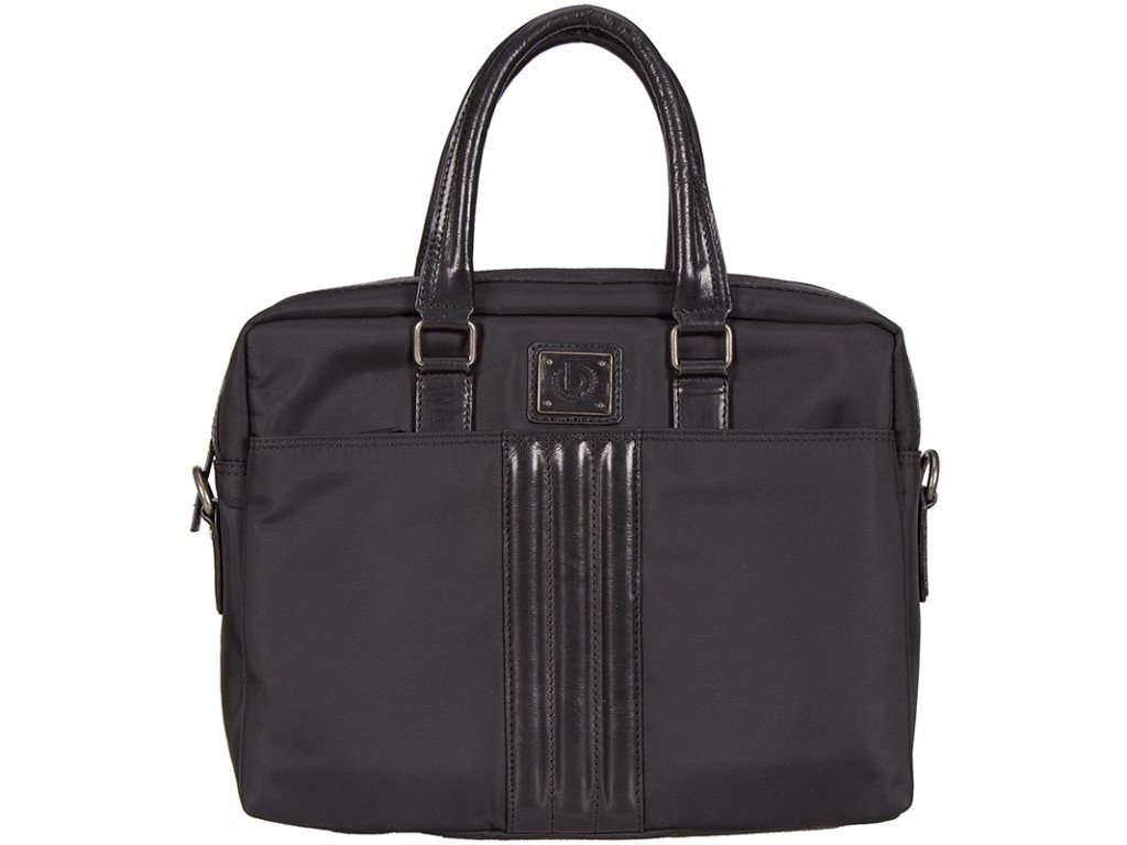 """Černá taška na 15"""" notebook nylon+kůže OGGI 401, BUGATTI"""