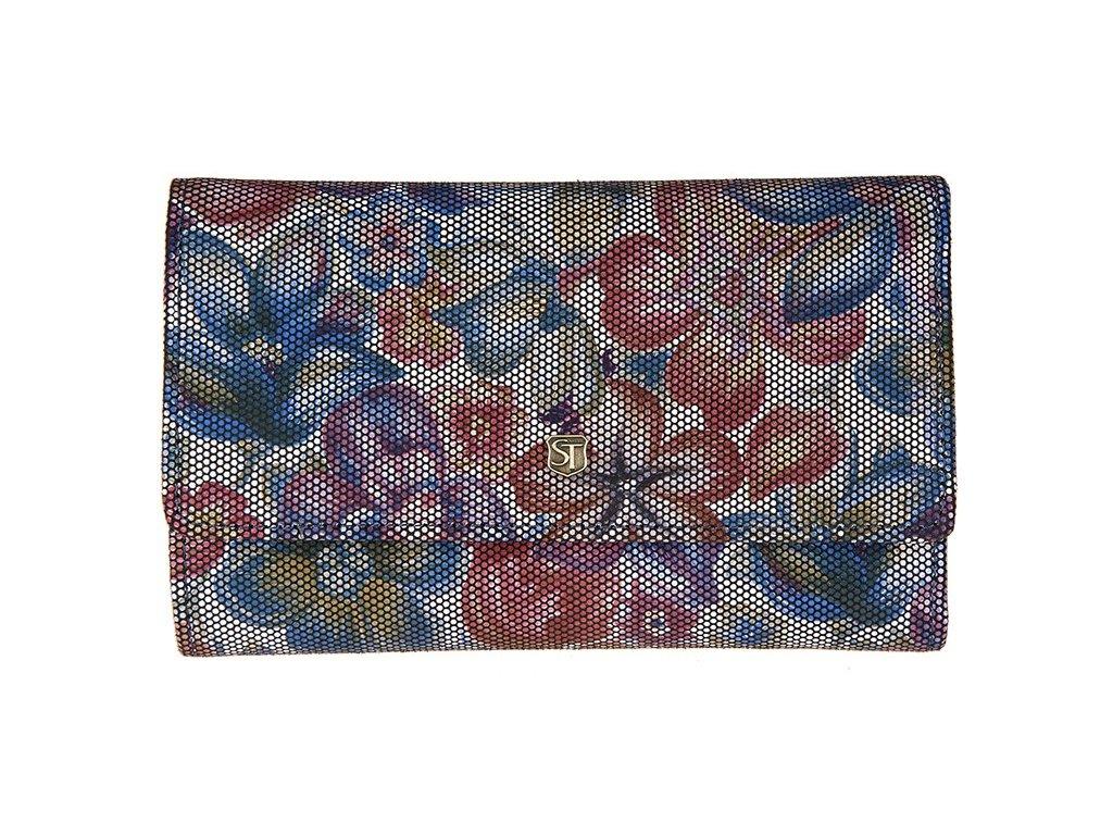 Dámská kožená peněženka s motivem květin Stefania