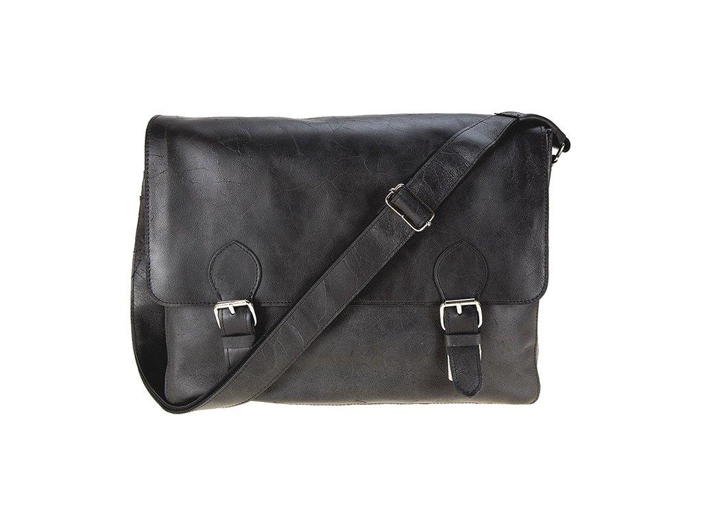 pánská černá kožená taška na notebook - crossbody, messenger bag značky Daag