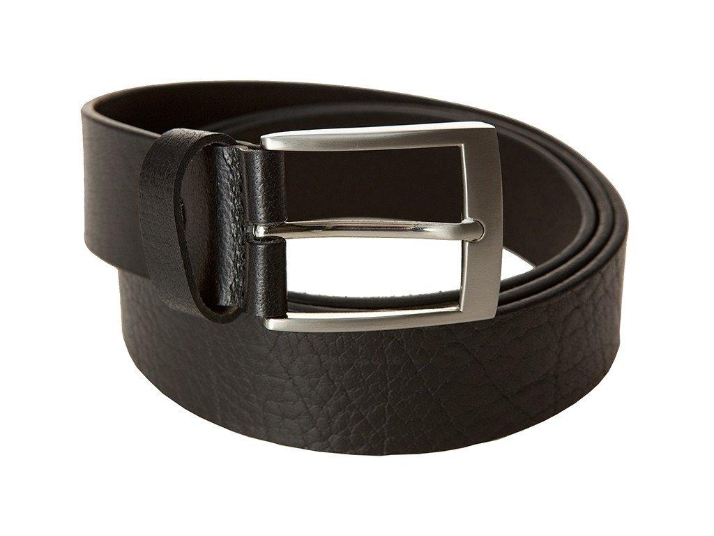 pánský černý kožený pásek 745, LINDENMANN