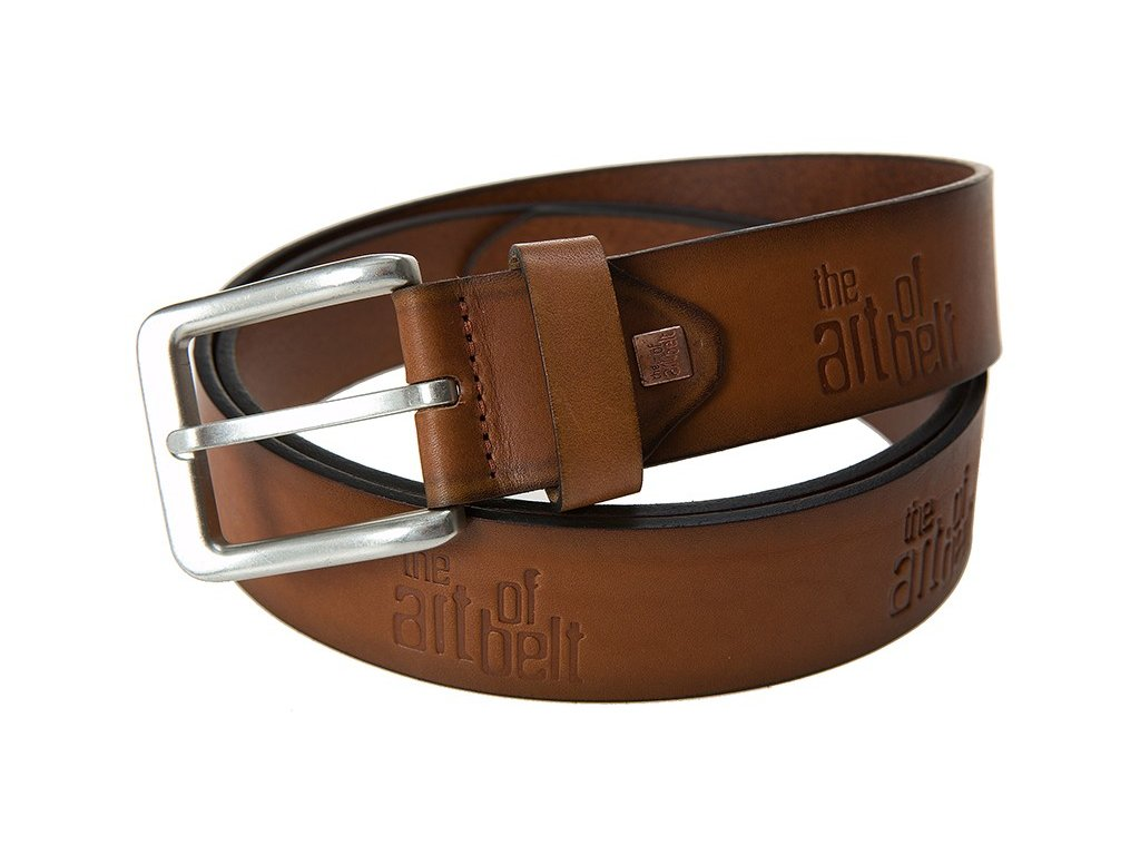 Pánský hnědý-koňak kožený pásek 90075, LINDENMANN