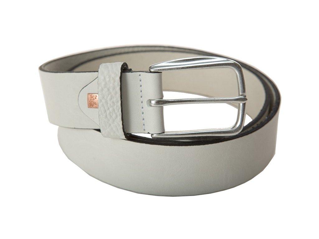 pánský bílý kožený pásek 40085, LINDENMANN