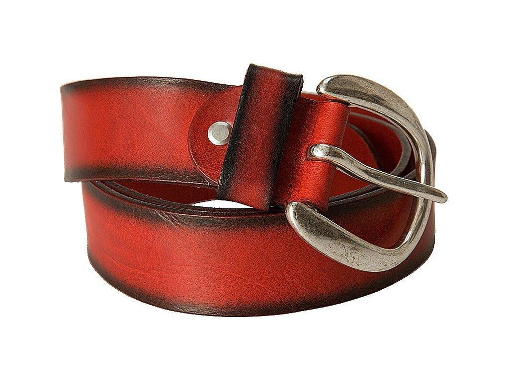 Bernd Götz luxusní červený kožený pásek