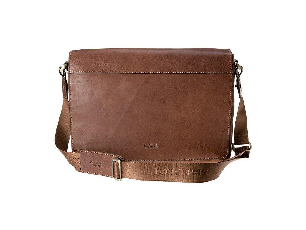 "hnědá kožená taška na 13"" notebook  9027-38, Tony Perotti"