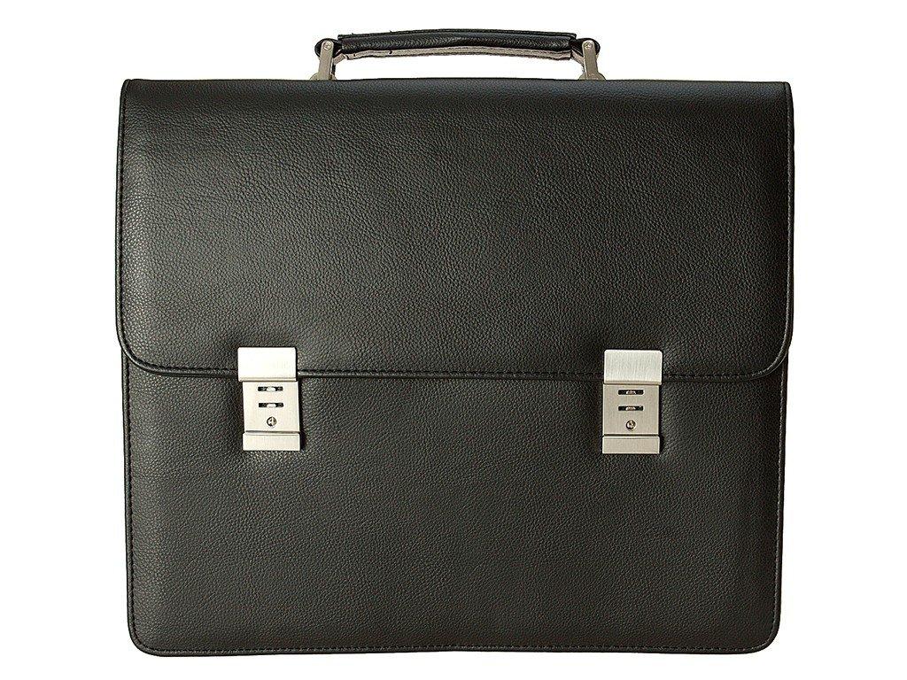 """černá aktovka na 17"""" notebook z umělé kůže 518001, d&n lederwaren"""