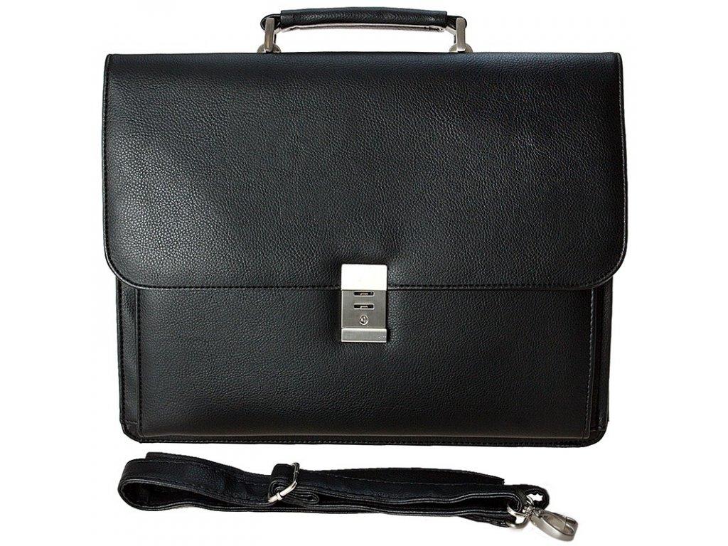 černá aktovka na notebook z umělé kůže 537301, d&n lederwaren
