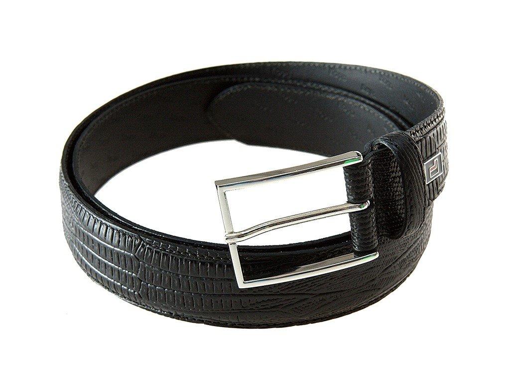 Pánský černý kožený pásek 0826, LLOYD