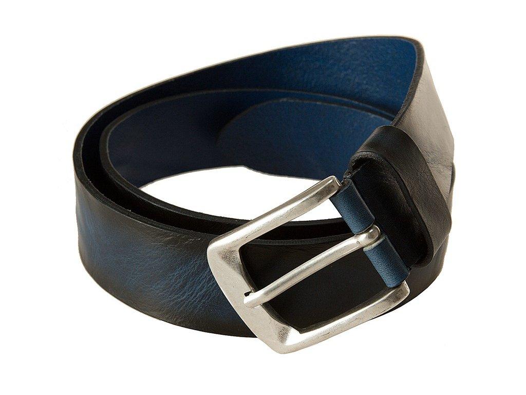 Luxusní kožený pásek tmavě modrý s černým žíháním BERND GÖTZ