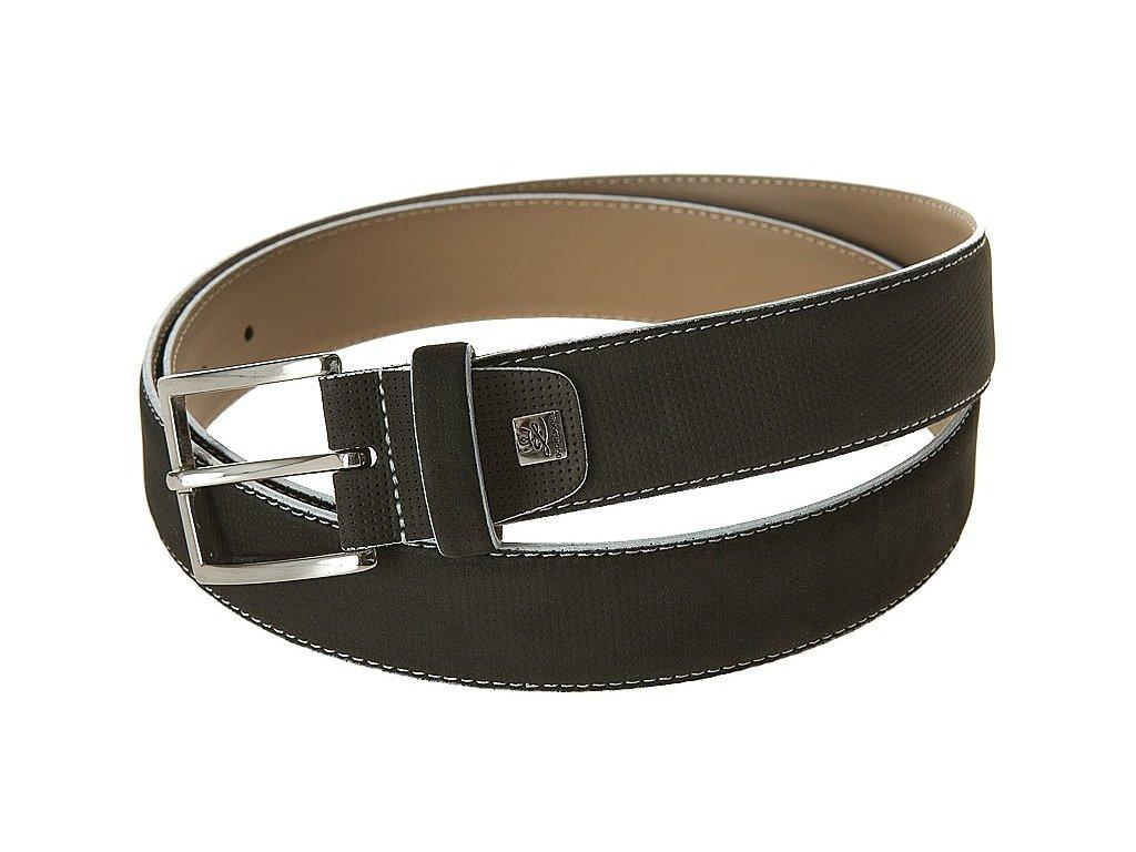 pánský šedý - antracit kožený pásek 752, LINDENMANN