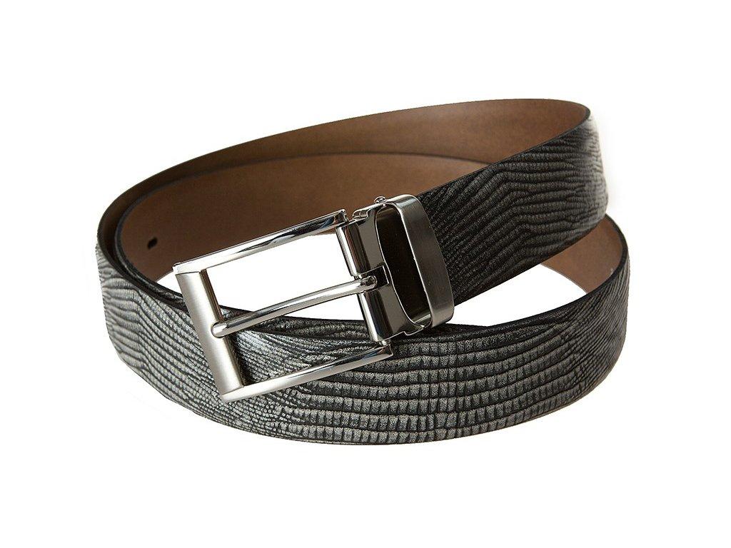 šedý kožený pásek 351208, BERND GÖTZ