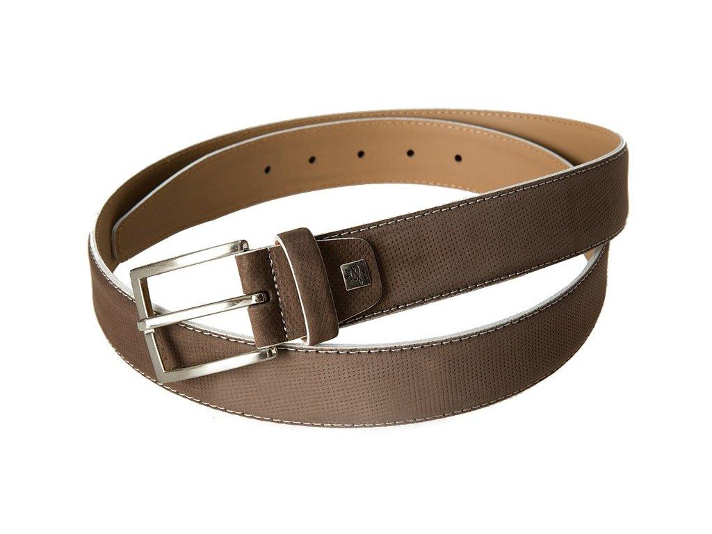 Pánský hnědý kožený pásek LINDENMANN