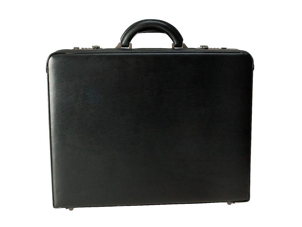 Černý kožený ataše kufřík 2632-01, d&n lederwaren