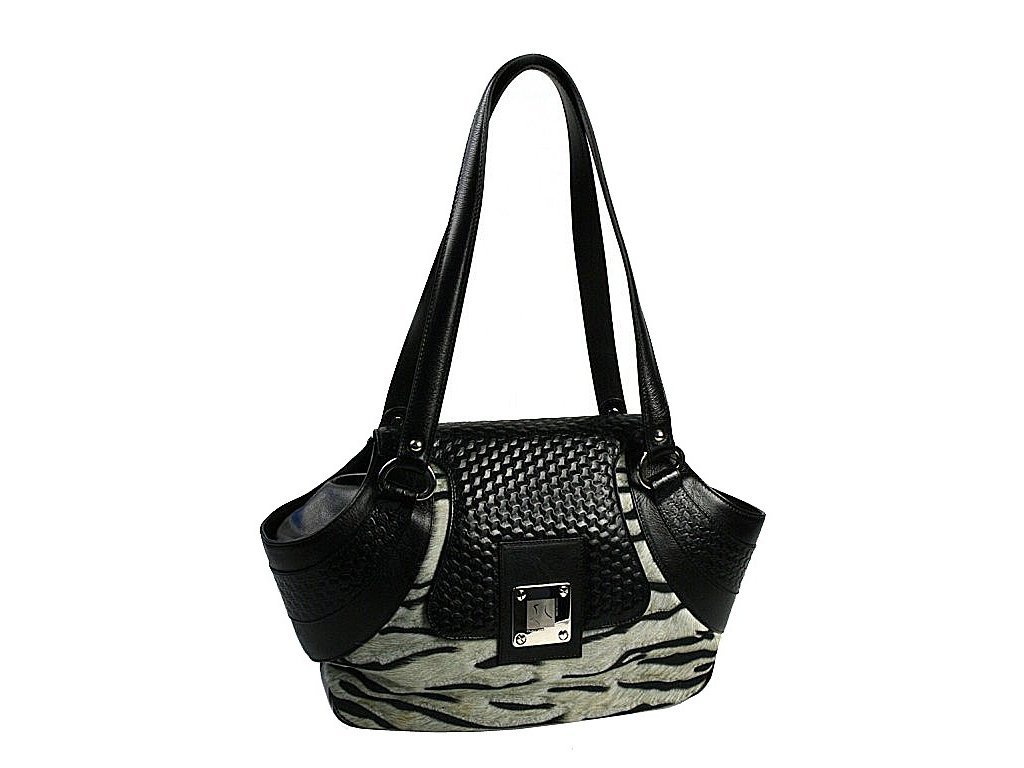 černá kožená kabelka s kožešinou 10-1238-2605, Galko