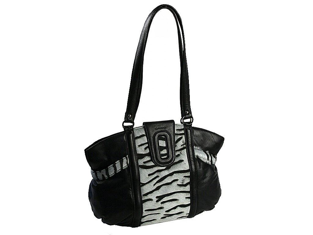 černá kožená kabelka s kožešinou 10-1240-2605, Galko