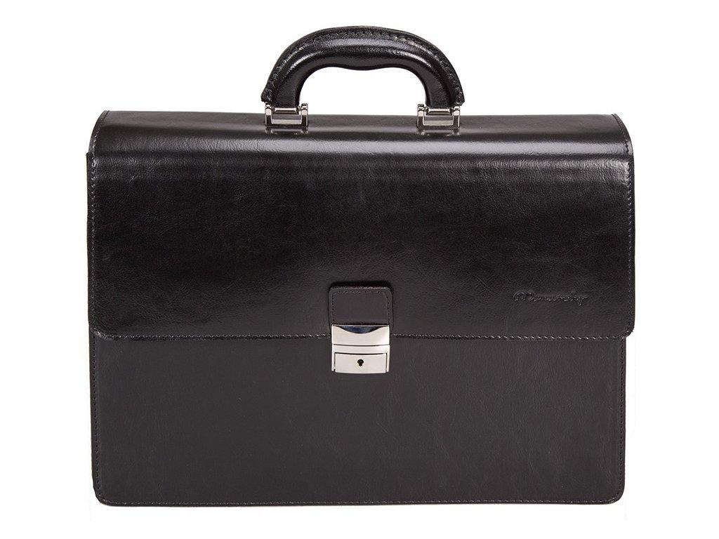 černá kožená aktovka na notebook 861, MONARCHY
